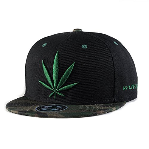 King Star Men Women Leaf Weed Snapback Cannabis Embroidered Flat Bill Baseball Cap Hat Black-Green by King Star