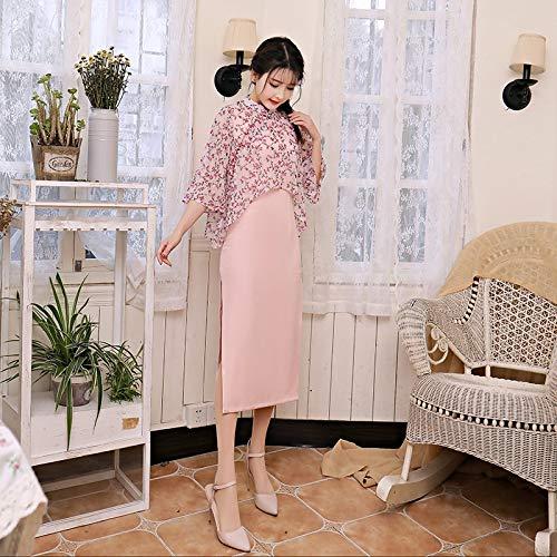 Xxl Twinset Shiduoli Cheongsam Mousseline Qipao Femmes Côté Long Traditionnel Asiatiques Est Soie size Chinois Robes Fente De Haut Robe pqwUdqC