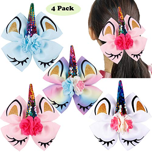 4Pcs 7 Inch Bows for Girls Large Unicorn Hair Bows Alligator Hair Clips Accessories for Kids Children Teens