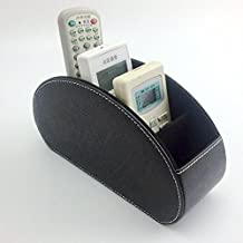 Fosinz Remote Control Holder Organizer Leather Control Storage TV Remote Control Organizer with 5 Spacious Compartments (Black)