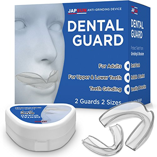 Japanese Line Dental Mouth Guard with Anti-Bacterial Case - Custom Moldable - Pack of 2 Big and Small - Bite Splints for Sleeping - BPA Free