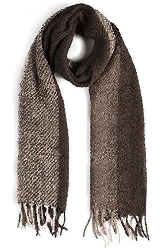 Boucle Weave (Triple Stripe Nubby Rustic Weave Baby Alpaca & Silk Boucle Scarf - Unisex (Charcoal / Silver Gray / Mushroom))