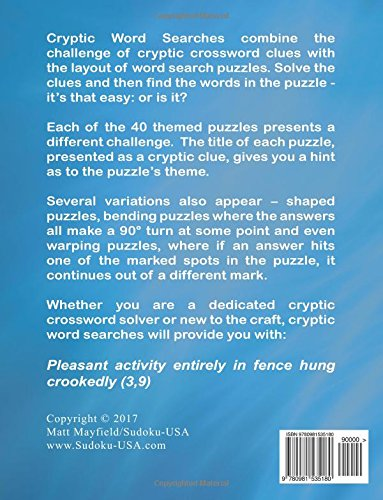 Cryptic Word Searches (Volume 1): Matt Mayfield: 9780981535180