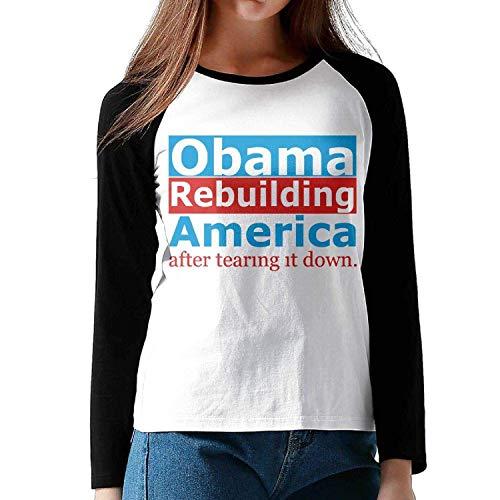 LIRUKOKO Anti Obama - Obama Rebuilding America After Tearing Lady Raglan Long Sleeve T Shirts Round Neck Baseball T-Shirt,Medium,Black