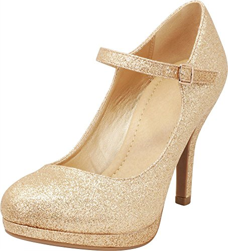 Cambridge Select Women's Mary Jane Dress Pump High Heel,8.5 B(M) US,Gold Glitter ()
