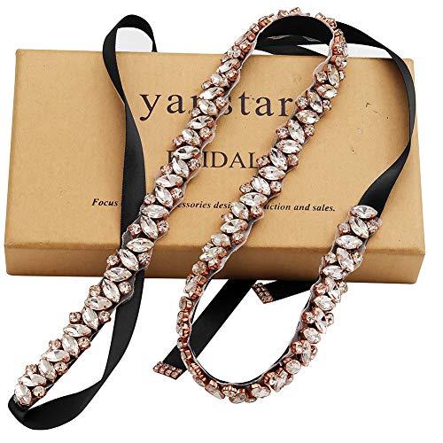 Yanstar Rose Gold Rhinestone Wedding Belt Bridal Belt Sashes with Black Ribbon for Prom Bridesmaid Dress