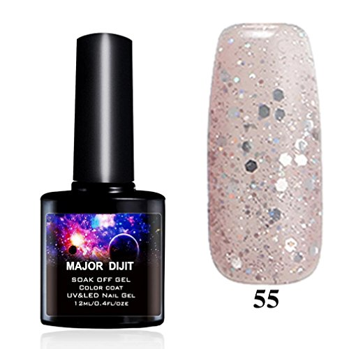 OMfeng MAJOR DIJIT New Gel Nail Polish Soak UV Gel Polish Top Low Coat Gel Nail Lacquer (G) - Glitter Nail Polish Essie