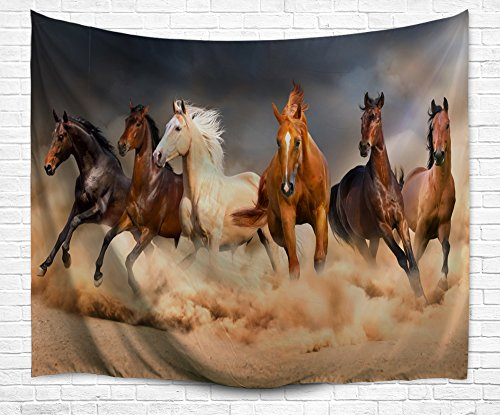 Running Horse Herb Wall Tapestry, Palomino Horse Herb in Sand Desert with Long Blond Male Hair and Tail Powerful Wild Animal Theme Wall Hanging for Bedroom Living Room (Money Drawing Herbs)