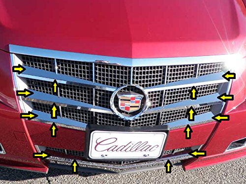 QAA FITS CTS 2008-2013 CADILLAC (16 Pc: Stainless Steel Top & Bottom Grille Accent Trim, 4-door & Sport Wagon) SG48251