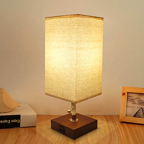 Bedside Table Lamp USB, Aooshine Modern Desk Lamp, Solid Wood Nightstand Lamp with Unique Shade and Havana Brown Wooden Base, Ambient Light and Useful USB Charging Port Perfect for Bedroom or Office