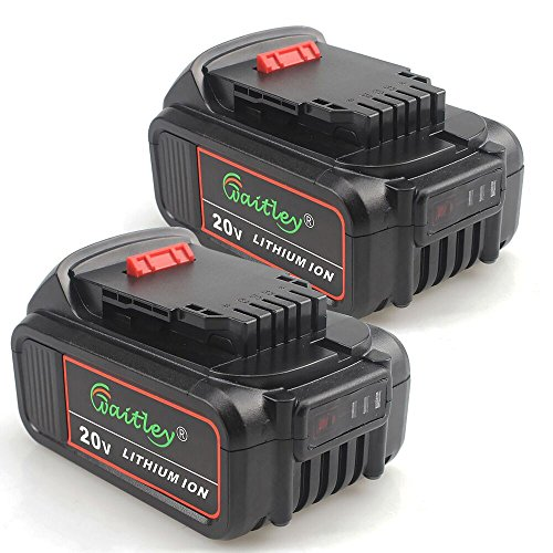 TenMore DCB205-2 5.0A Replacement Battery for DeWalt 20V Max XR DCB200 DCB204 DCD DCG DCF DCS DCK DCL Power Tools,2-Pack by TenMore