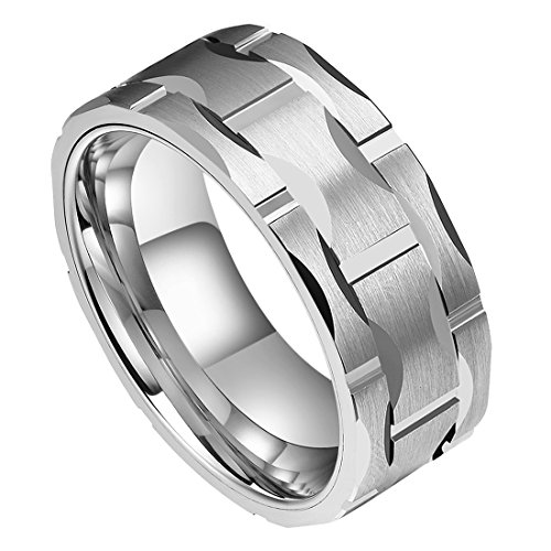 (DOUX Men's 8mm Brick Pattern Silver Tungsten Carbide Statement Ring Wedding Ring for Anniversary 9)