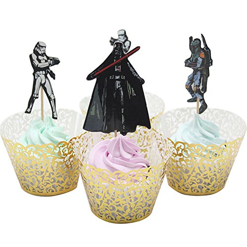 Price comparison product image BETOP HOUSE Set of 24 Pieces Star Wars Theme Party Decorative Cupcake Topper for Kids Birthday Party ( 1)