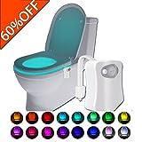 Led Toilet Light,16 Color Led Sensor Motion-Activated & Light Sensor Toilet Bowl Night Light for Bathroom