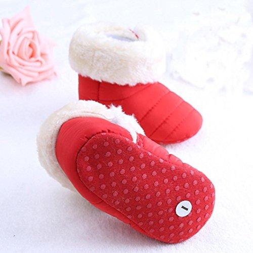 Tefamore zapatos bebes sneaker de primeros pasos de antideslizante de sole suave de moda invierno de calentar de además de terciopelo Rosa