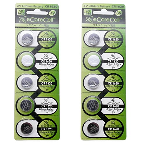 eCoreCell (10pcs) CR1620 5009LC 3V 3 Volt Lithium Single Use Non-rechargeable Button Coin Cell Battery (Cr1620 Lithium Coin Cell Batteries)