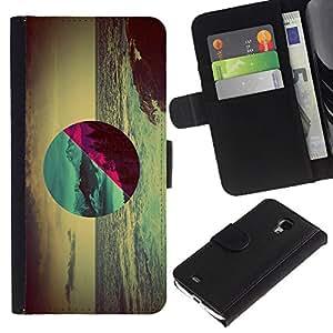 JackGot ( Geometría Ocean Forest ) Samsung Galaxy S4 Mini i9190 (NOT S4) la tarjeta de Crédito Slots PU Funda de cuero Monedero caso cubierta de piel