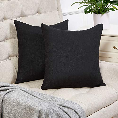 Anickal Set of 2 Black Pillow Covers Cotton Linen Decorative Square Throw Pillow Covers 20x20 Inch for Sofa Couch Decoration (Pillow Throw Decorative Black)
