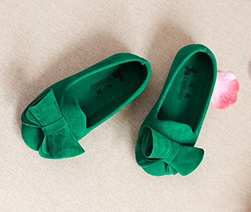 Slip Schuhe Ballerinas Bow Faux Vokamara On Kid Kid Runde Grün Little Wildleder Big Kappe qHUYgRFx