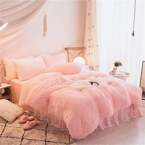 MooWoo Plush Shaggy Duvet Cover Set, 1 Velvet Flannel Duvet Cover + 1 Quilted Ruffle Bed Sheet Skirt + 2 Pompoms Fringe Pillow Sham, Zipper Closure Luxury Bedding Sets (Pink, Twin,3 PCS)
