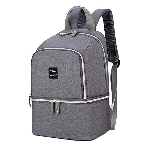 Breast Pump Bag Backpack – Cooler and Moistureproof Bag Double Layer for Mother Outdoor Working Backpack, Fit Most Size Breast Pump Large (Grey)