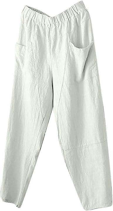 Pantalon Lin Femme avec Poche Pantalons Femme