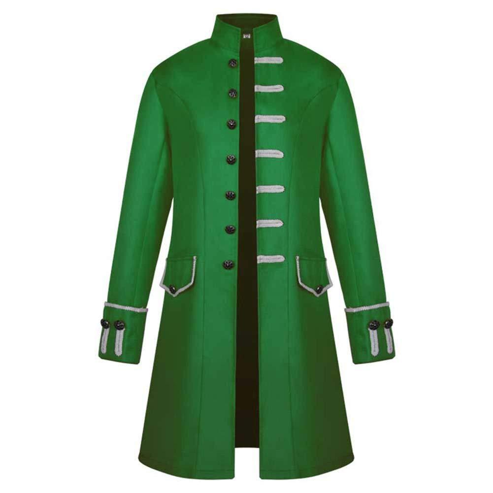 Sunyastor Mens Vintage Tailcoat Jacket Long Steampunk Formal Gothic Victorian Frock Buttons Coat Uniform Costume for Party by Sunyastor Men Coat