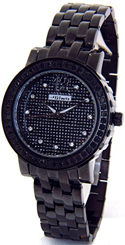 2ct Diamond Ladies Bezel - JOJINO Real 2.00ct Black Diamond Watch Ladies Black Case Black Metal Band MJ-1046B