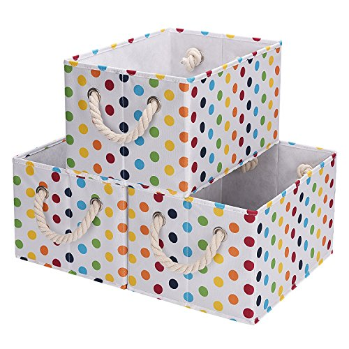 5 gal.StorageWorks Polyester Storage Bin with Strong Cotton Rope Handle, White, Mixed Color Dot Style, Large, 3-Pack