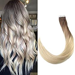 """Full Shine 18"""" 20 Pcs 50 Gram Per Package Color #7B Fading to Color 613 Ombre Tape Hair Extensions Dip Dye Balayabe of Remy Tape in Extensions"""