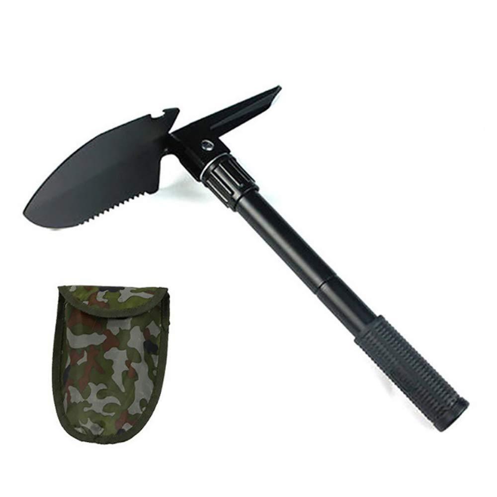 Upper Mini Pala,Plegable Militar Herramienta 7 en 1 Pala Multifuncional con Brújula Negro al Aire Libre