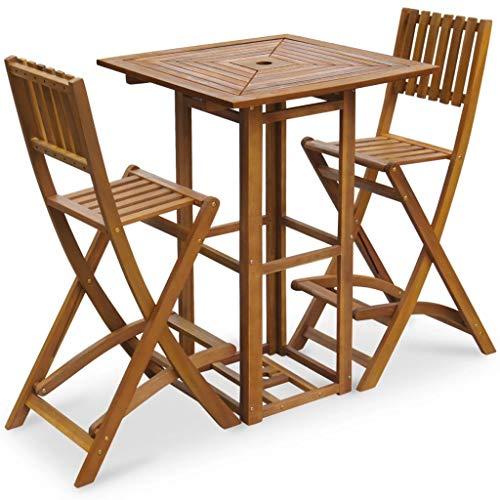 vidaXL Mesa alta y taburetes de jardin 3 piezas de madera de acacia