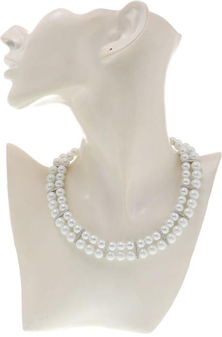 97e6309640d2 Behave Moderno collar cadena perlas con piedras - Blanca - Corto collares - Elegante  joyas  Amazon.es  Joyería