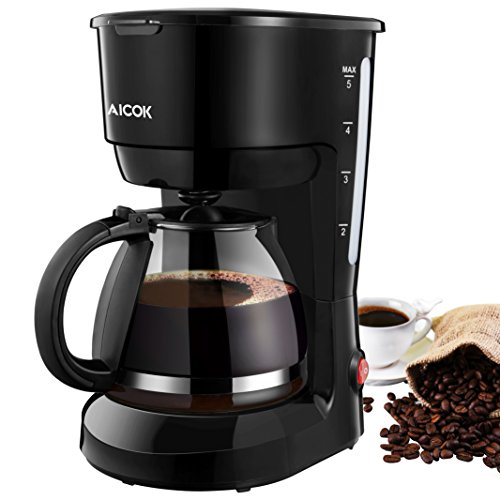 Coffee Maker, Aicok 5-Cup Black Instant Coffee Pot Maker Machine with Glass Carafe and One Touth Button, Drip Coffee Machine Maker with Quick Brew Technology, 600W