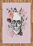 Skull Area Rug by Lunarable, Skull and Blooms Catholic Ceremony Celebrating Art Design Vintage, Flat Woven Accent Rug for Living Room Bedroom Dining Room, 5.2 x 7.5 FT, Baby Pink Black White Salmon