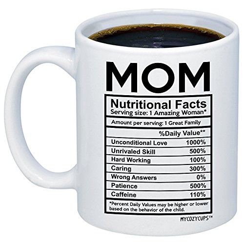 MyCozyCups Mom Nutritional Facts Coffee Mug - Funny New Gag Novelty Gift from Daughter, Son, Husband for Birthday, Christmas, Anniversary, Valentines Day - Awesome Mommy Cup