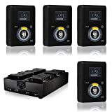 Core SWX Hypercore 98 4-Battery Gold Mount Kit with Quad Fleet Charger - Includes 4 Pack 14.8V Hypercore 98A 3-Stud Gold Mount Battery, Core SWX FLEET-Q4A Four-Position Simultaneous 3-Stud Charger