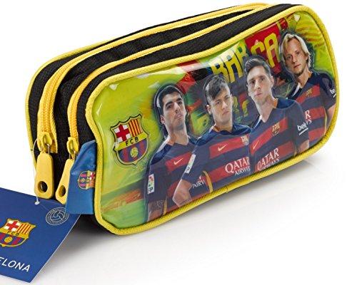 Offiziell lizensiertes ORIGINAL FC Barcelona Lionel Messi, Neymar und andere Spieler Bilder Federmäppchen / Schlampermäppchen mit 2 Taschen (!!)
