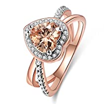Lady Rings Champagne Cubic Zirconia Rhodium Rose Gold Plated Bypass Heart Shape Promise Jewelry Size 5