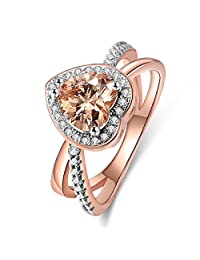 Lady Rings Champagne Cubic Zirconia Rhodium Rose Gold Plated Bypass Heart Shape Promise Jewelry Mother 's Day Gift Size 5-10