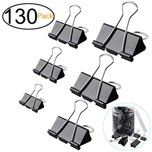 ExcelFu 130 Pcs Binder Clips Paper Clamp Clips Paper Binder Assorted 6 Sizes, Black