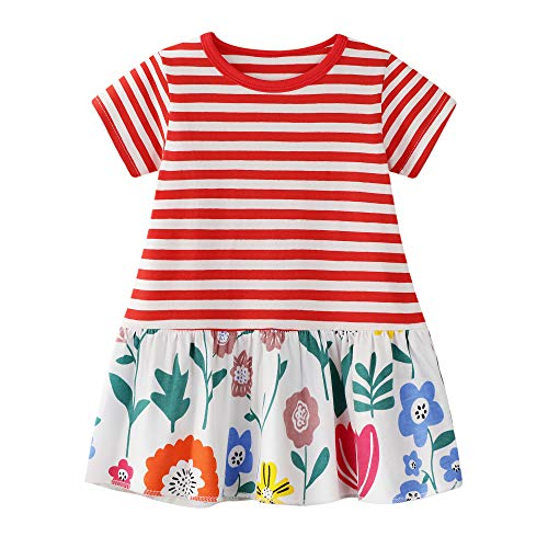 BIBNice Little Girls Tunic Tops Stripe Casual Summer Shirt Cotton Dress 4t