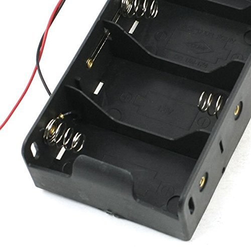 SODIAL(R) Spring Clip Black 4 x 1.5V D Size Battery Batteries Holder Case by SODIAL (Image #2)