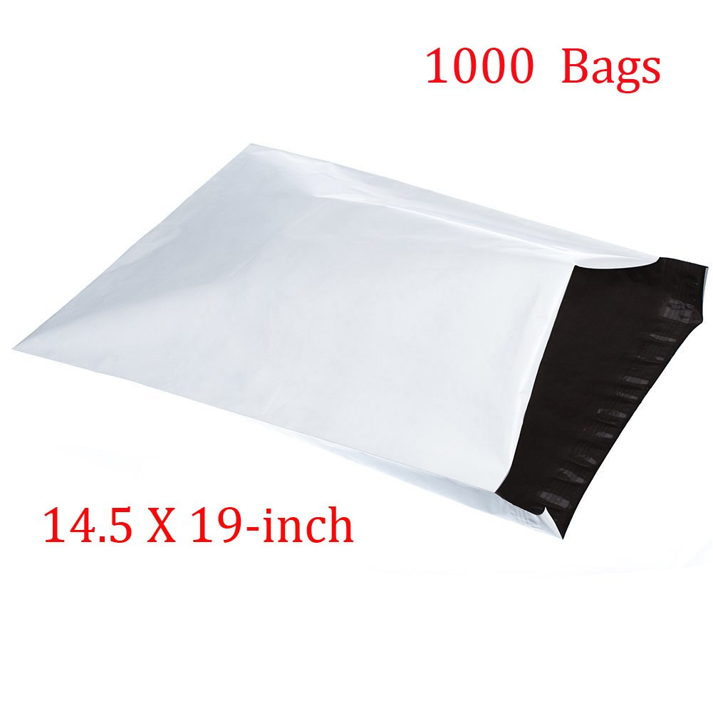 SJPACK 1000pcs 14.5x19 Poly Mailers 2.5 Mil Envelopes Shipping Bags With Self Sealing Stripe,White Poly Mailers