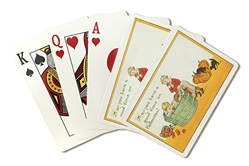 (Halloween Scene of Kids Bobbing for Apples (Playing Card Deck - 52 Card Poker Size with)