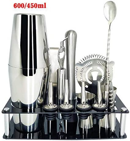 Coctelera de acero inoxidable Mezclador de coctelería Bebida Barman Kit de navegador Barras Conjunto de herramientas con estante para vino,14pc600450mlRack