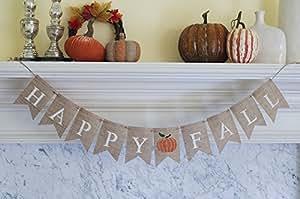 Happy Fall with a Bright Pumpkin Burlap Banner, B095