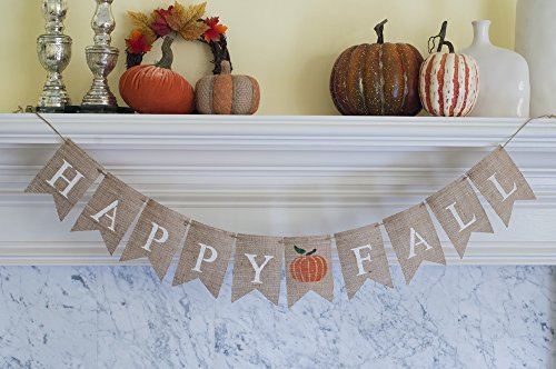 Happy Fall with a Bright Pumpkin Burlap Banner, ()