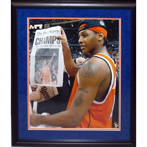 NCAA Syracuse Orange Carmelo Anthony 8414 Framed Igned Holding Champs Paper 16x20 Photograph by Steiner Sports