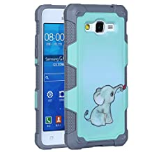Galaxy Grand Prime Case, Rosepark Elephant Pattern Hydrid Hard Impact Dual Layer Shockproof Bumper Cover Case For Samsung Galaxy Grand Prime G5308/ G530H(Grey)